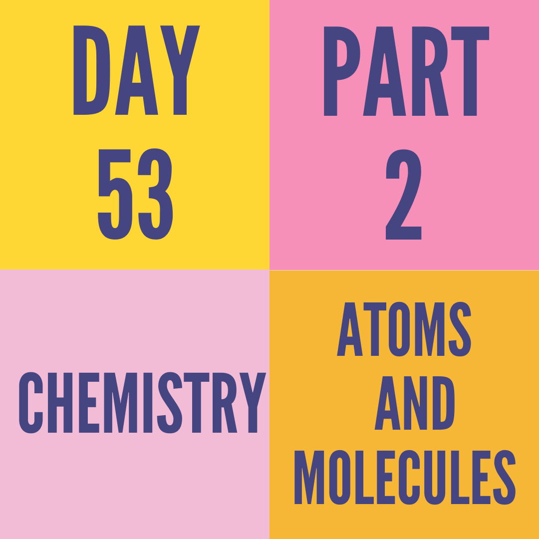 DAY-53 PART-2 ATOMS AND MOLECULES