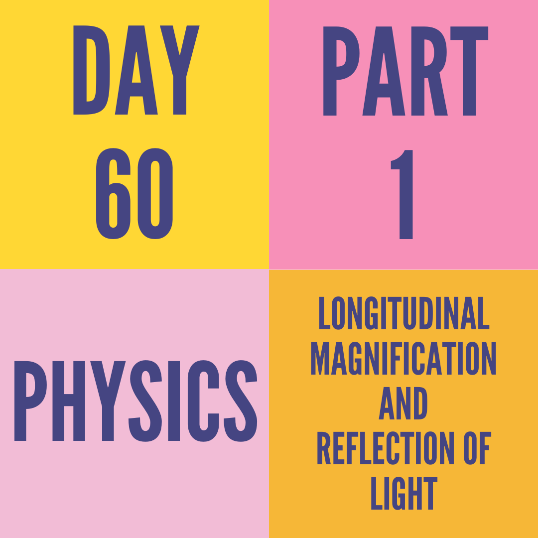 DAY-60 PART-1 LONGITUDINAL MAGNIFICATION AND REFLECTION OF LIGHT