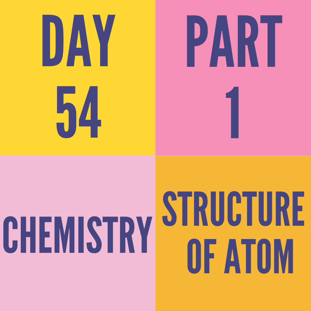 DAY-54 PART-1 STRUCTURE OF ATOM