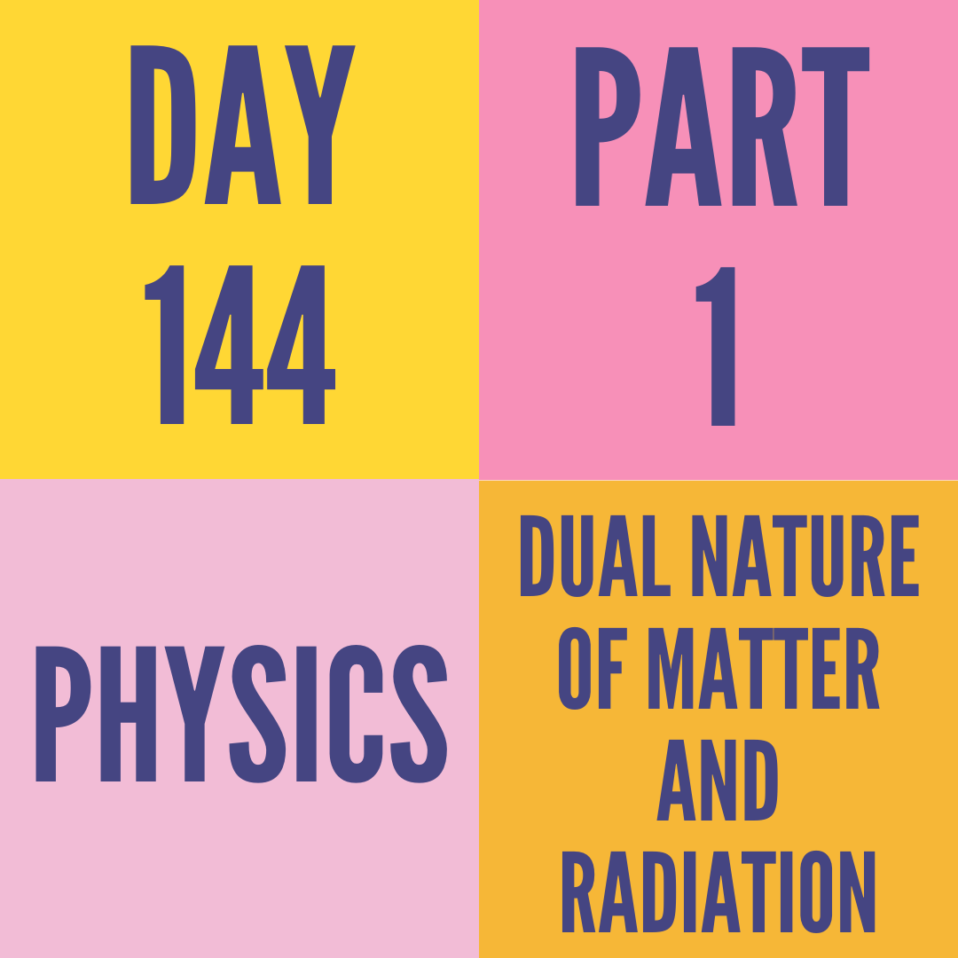 DAY-144 PART-1 DUAL NATURE OF MATTER AND RADIATION