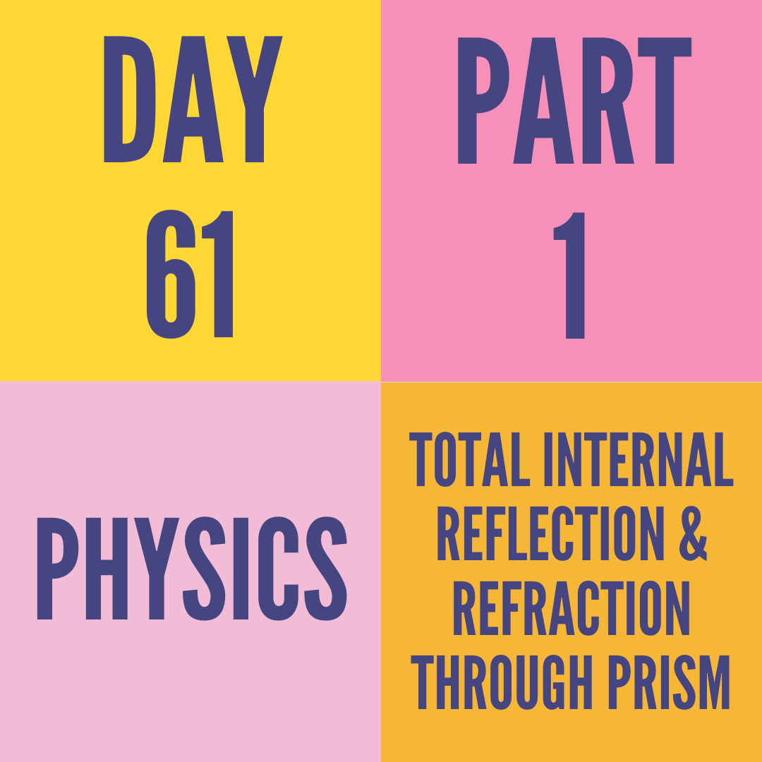DAY-61 PART-1 TOTAL INTERNAL REFLECTION & REFRACTION THROUGH PRISM