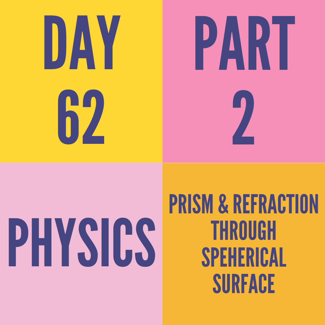 DAY-62 PART-2 PRISM & REFRACTION THROUGH SPEHERICAL SURFACE