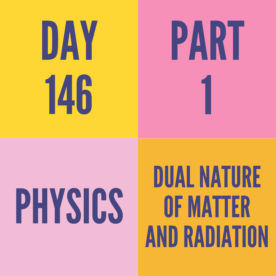 DAY-146 PART-1 DUAL NATURE OF MATTER AND RADIATION