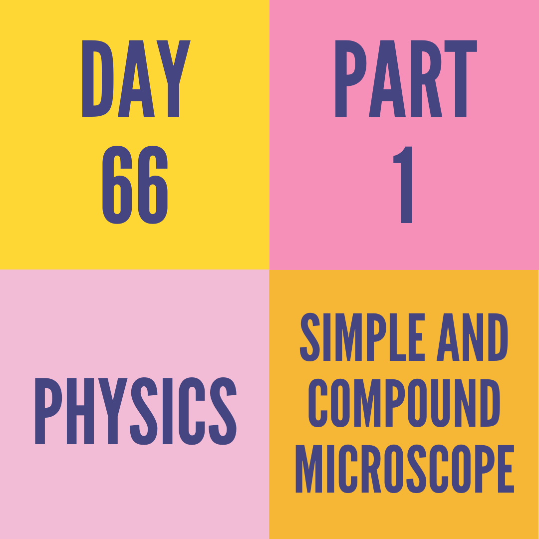 DAY-66 PART-1 SIMPLE AND COMPOUND MICROSCOPE
