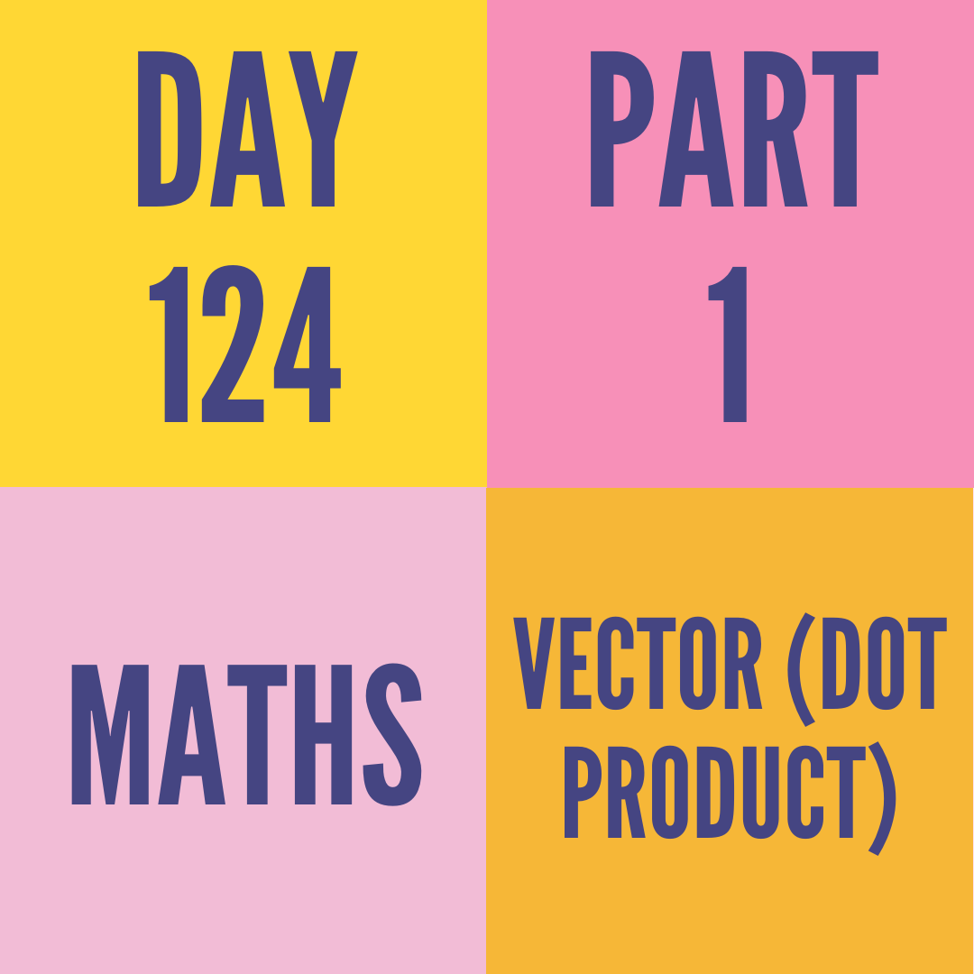 DAY-124 PART-1  VECTOR (DOT PRODUCT)