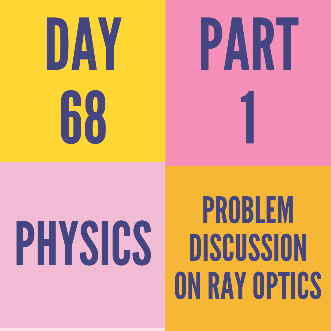 DAY-68 PART-1 PROBLEM DISCUSSION ON RAY OPTICS