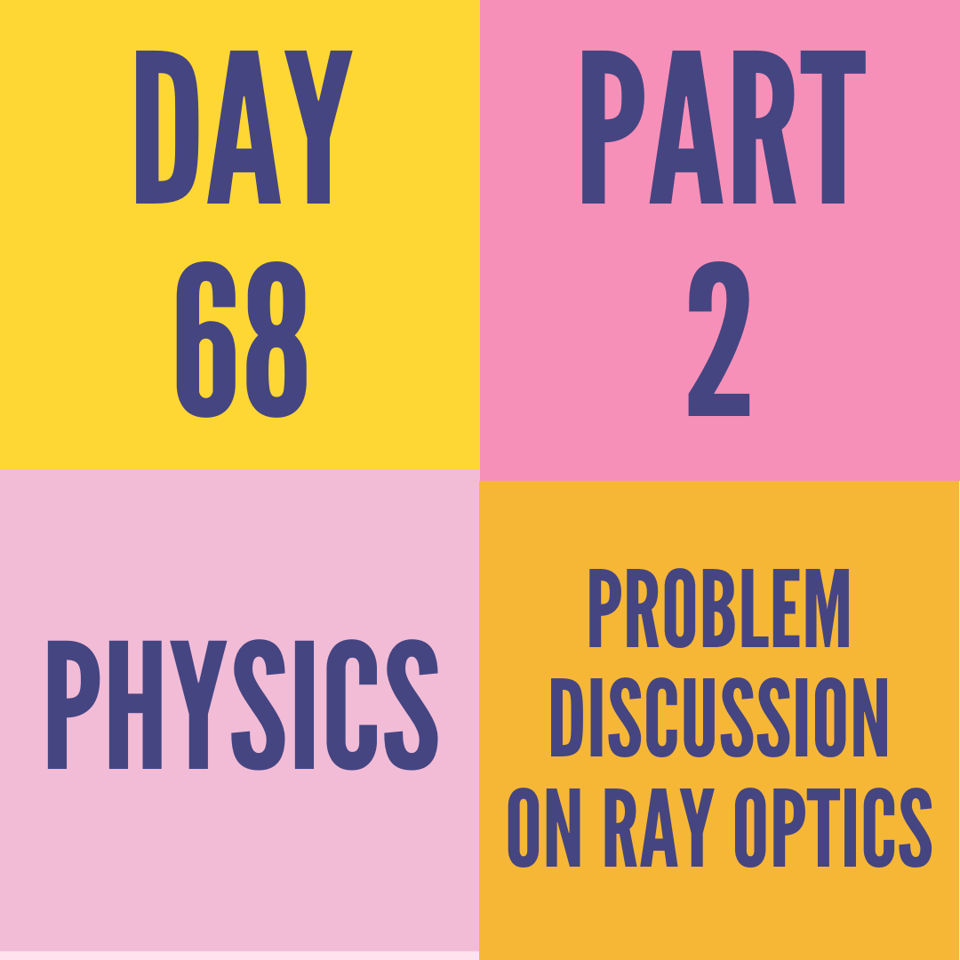 DAY-68 PART-2 PROBLEM DISCUSSION ON RAY OPTICS