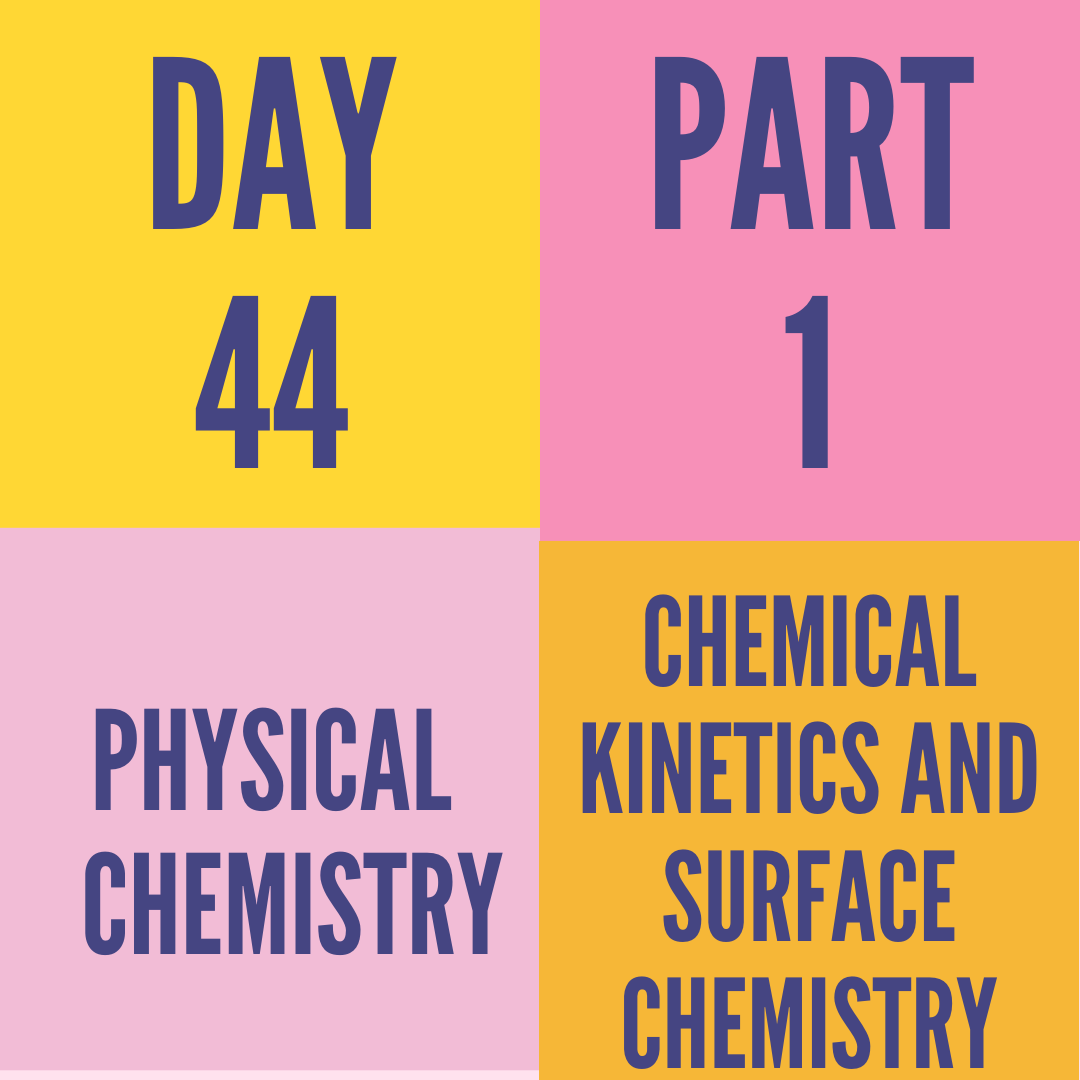 DAY-44 PART-1 CHEMICAL KINETICS AND SURFACE CHEMISTRY