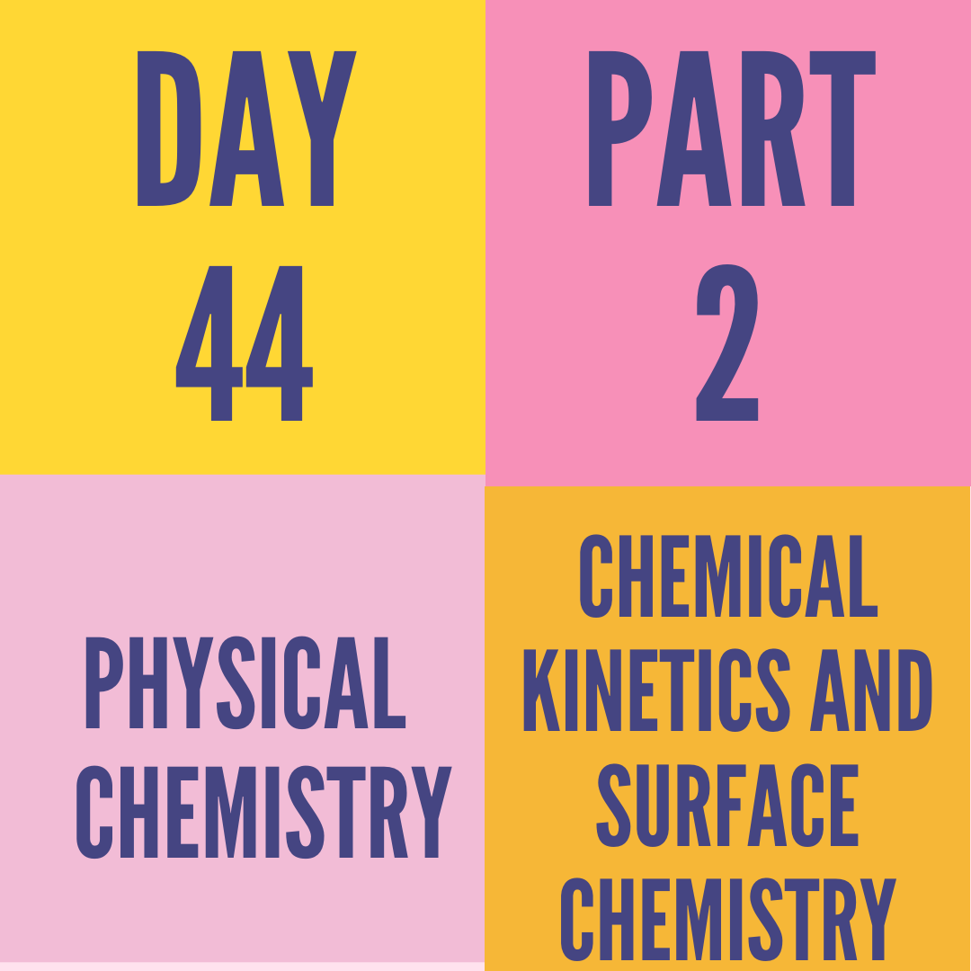 DAY-44 PART-2 CHEMICAL KINETICS AND SURFACE CHEMISTRY