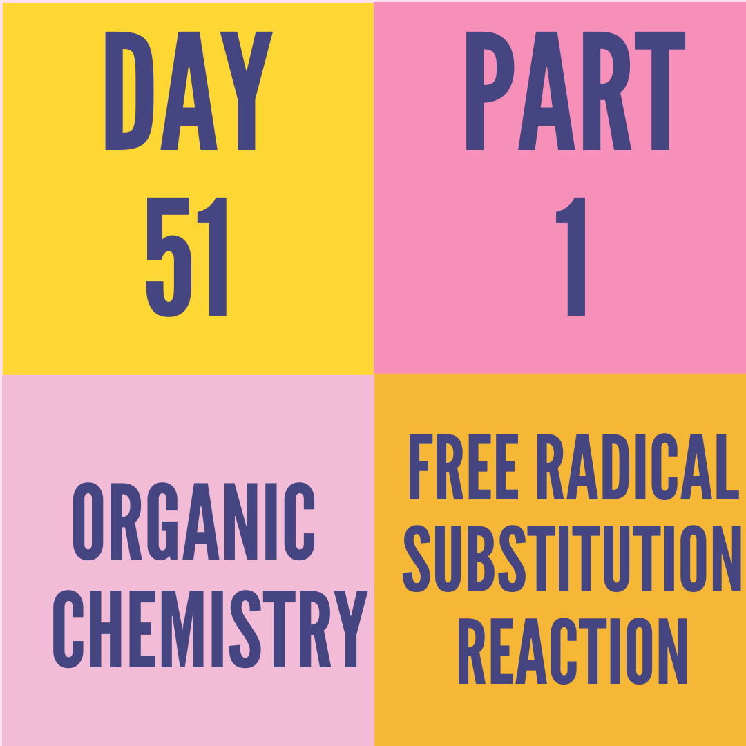 DAY-51 PART-1 FREE RADICAL SUBSTITUTION REACTION