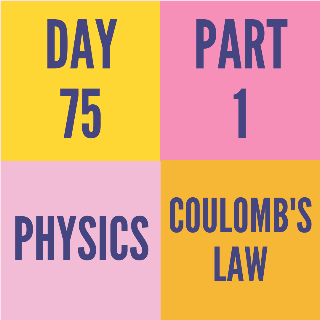 DAY-75 PART-1 COULOMB'S LAW