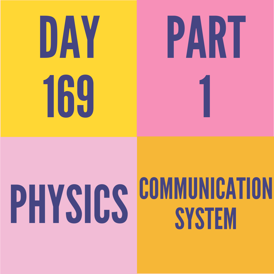DAY-169 PART-1 COMMUNICATION SYSTEM