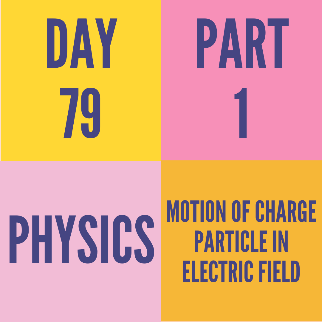 DAY-79 PART-1 MOTION OF CHARGE PARTICLE IN ELECTRIC FIELD