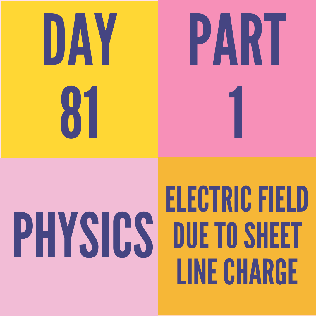 DAY-81 PART-1 ELECTRIC FIELD DUE TO SHEET LINE CHARGE
