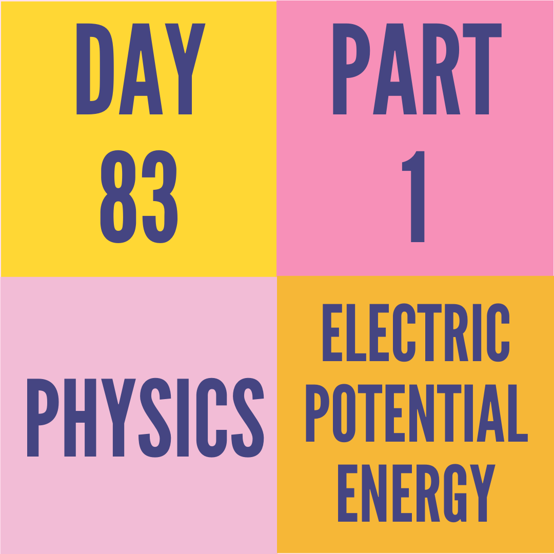 DAY-83 PART-1 ELECTRIC POTENTIAL ENERGY