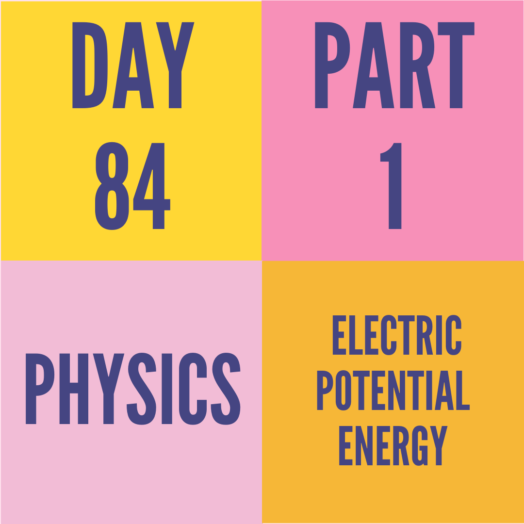 DAY-84 PART-1 ELECTRIC POTENTIAL ENERGY