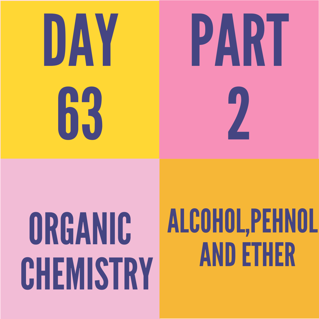 DAY-63 PART-2 ALCOHOL,PHENOL AND ETHER
