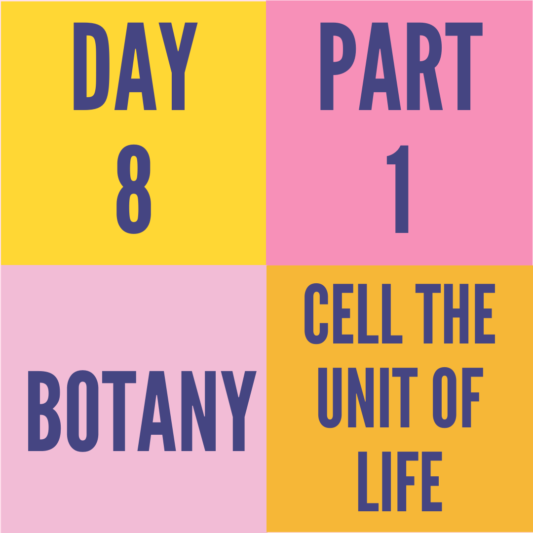 DAY-8 PART-1 CELL THE UNIT OF LIFE