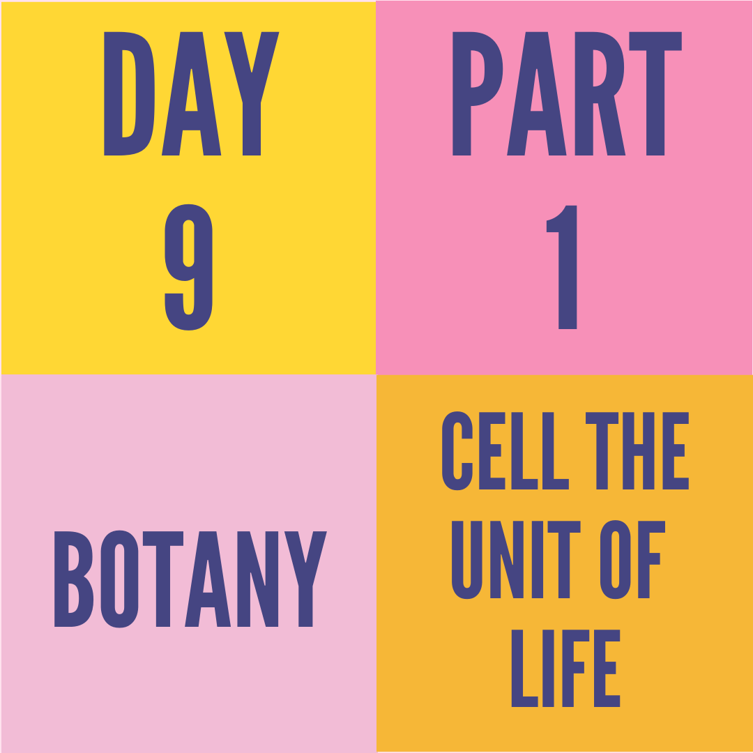 DAY-9 PART-1 CELL THE UNIT OF LIFE
