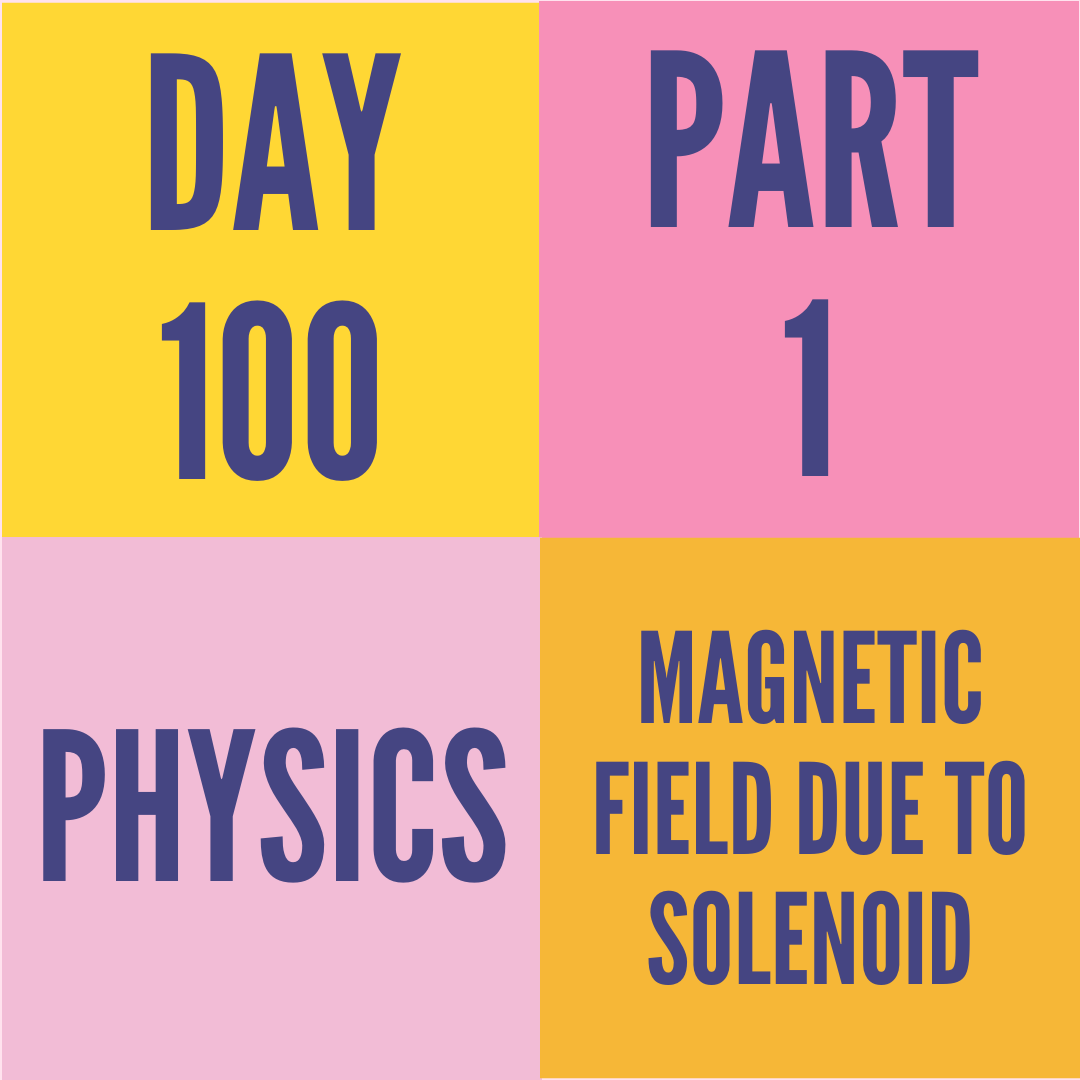 DAY-100 PART-1 MAGNETIC FIELD DUE TO SOLENOID