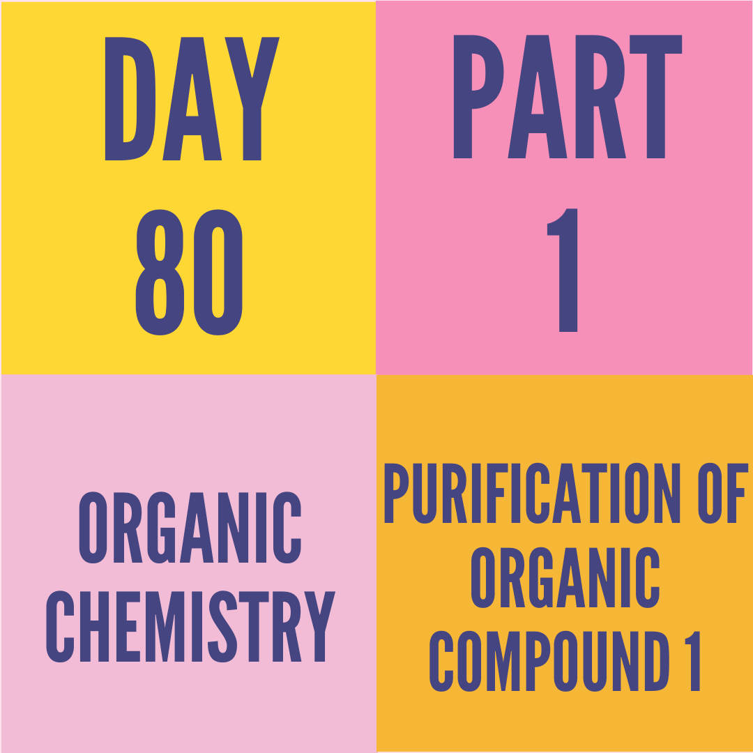 DAY-80 PART-1 PURIFICATION OF ORGANIC COMPOUND 1