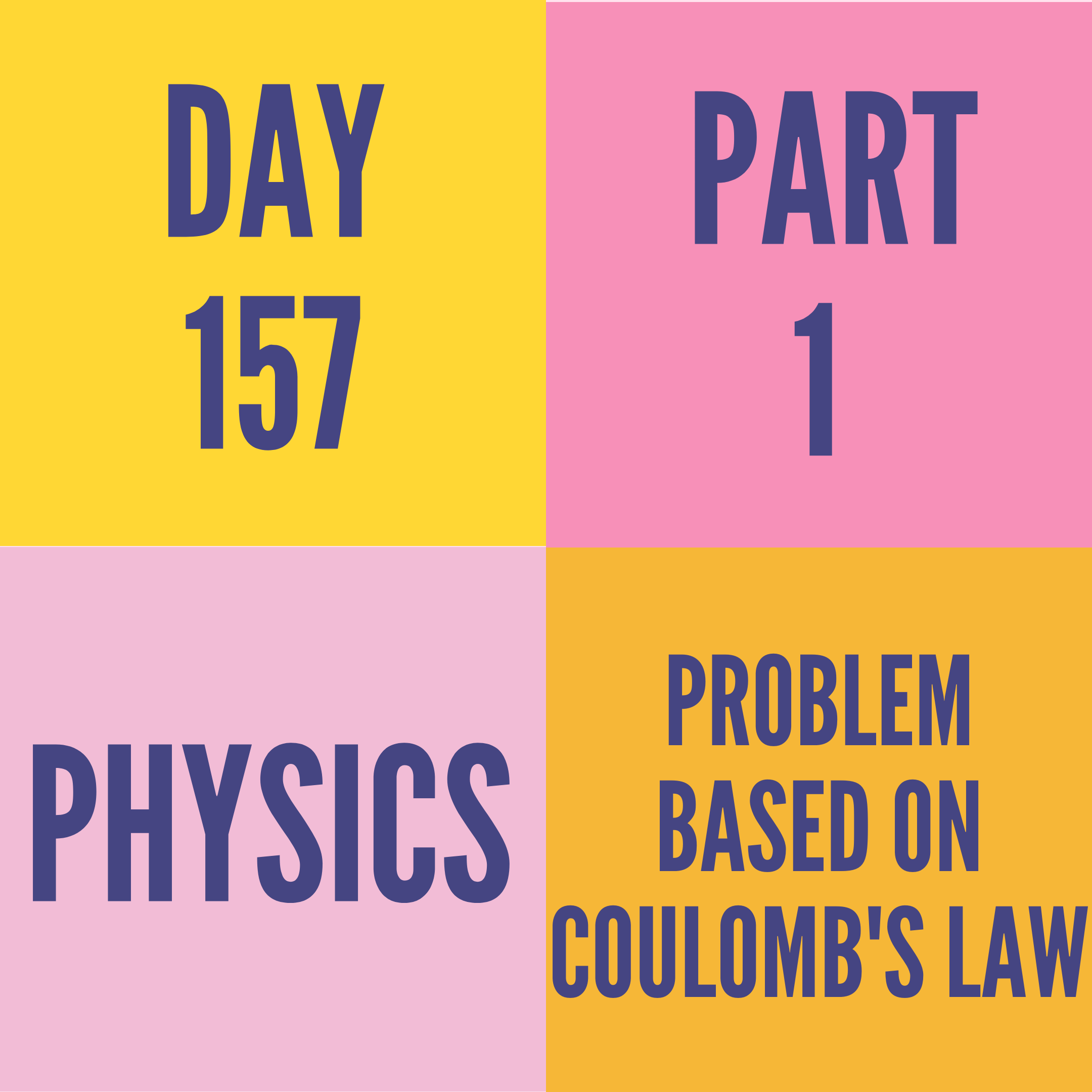 DAY-157 PART-1 PROBLEM BASED ON COULOMB'S LAW