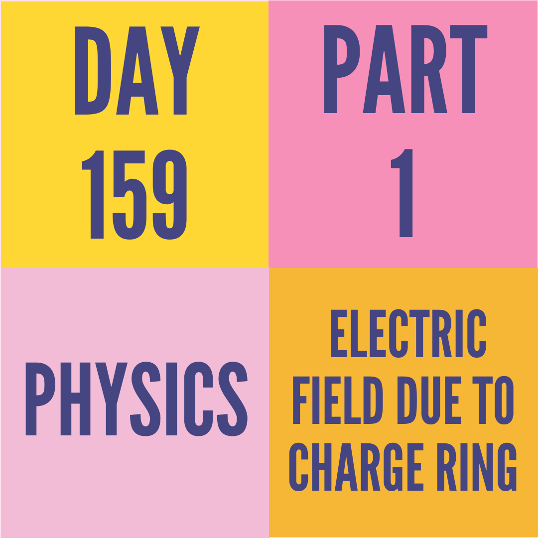 DAY-159 PART-1 ELECTRIC FIELD DUE TO CHARGE RING