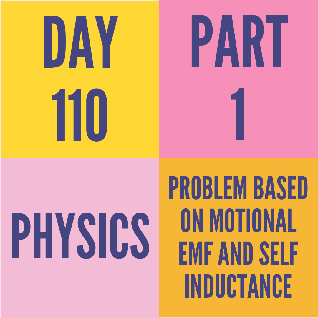 DAY-110 PART-1 PROBLEM BASED ON MOTIONAL EMF AND SELF INDUCTANCE
