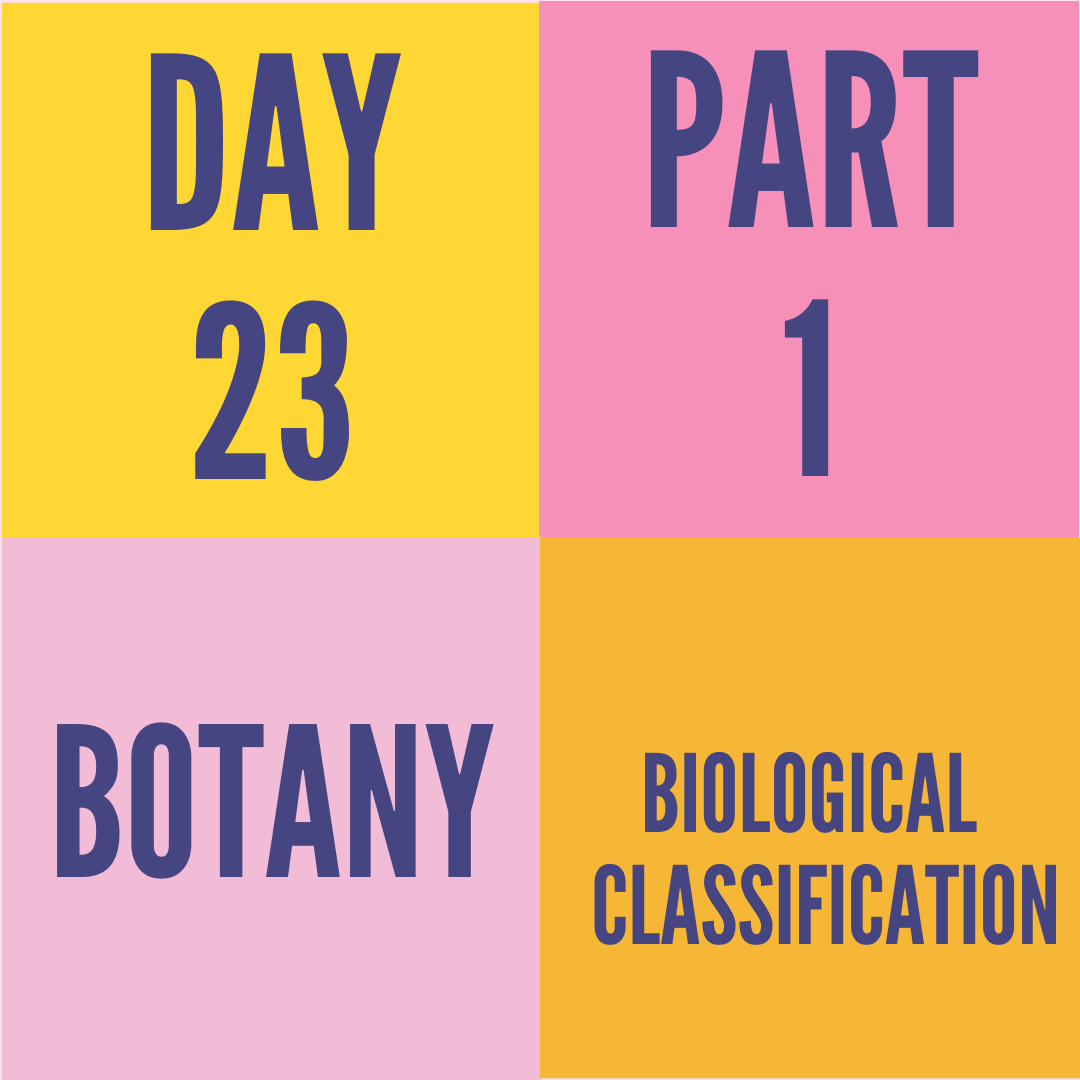 DAY-23 PART-1 BIOLOGICAL CLASSIFICATION