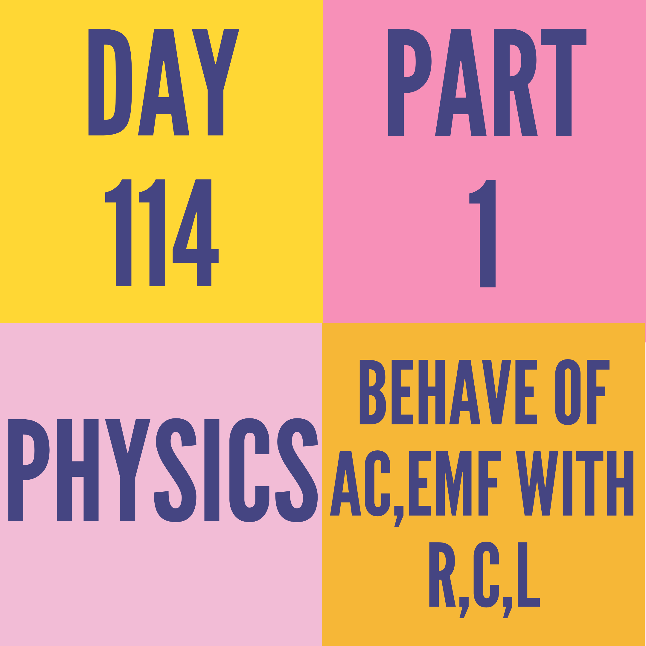 DAY-114 PART-1 BEHAVE OF AC,EMF WITH R,C,L