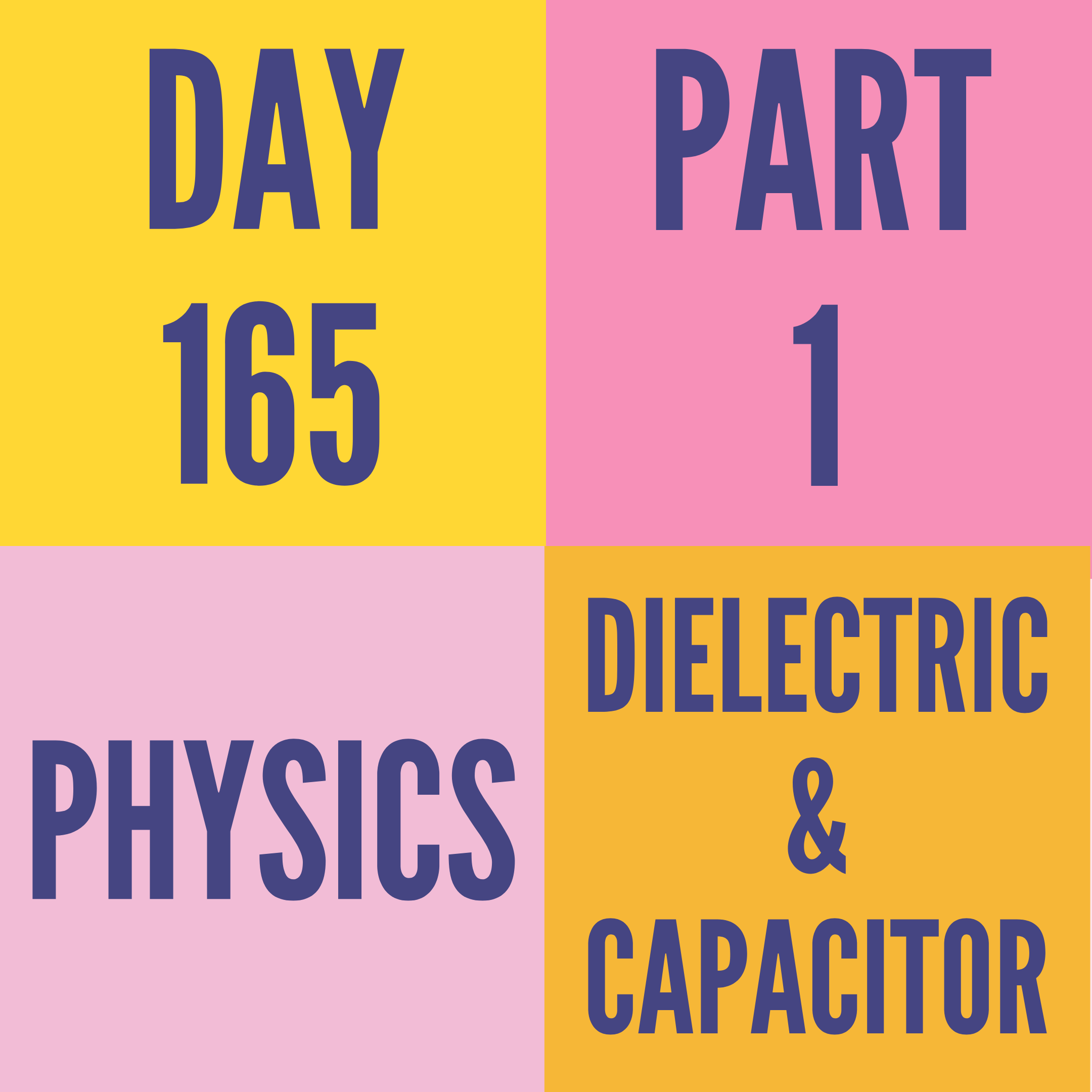DAY-165 PART-1 DIELECTRIC & CAPACITOR