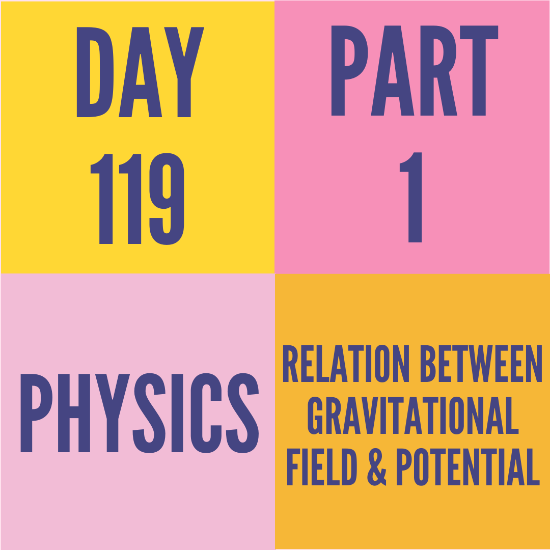 DAY-119 PART-1 RELATION BETWEEN GRAVITATIONAL FIELD & POTENTIAL