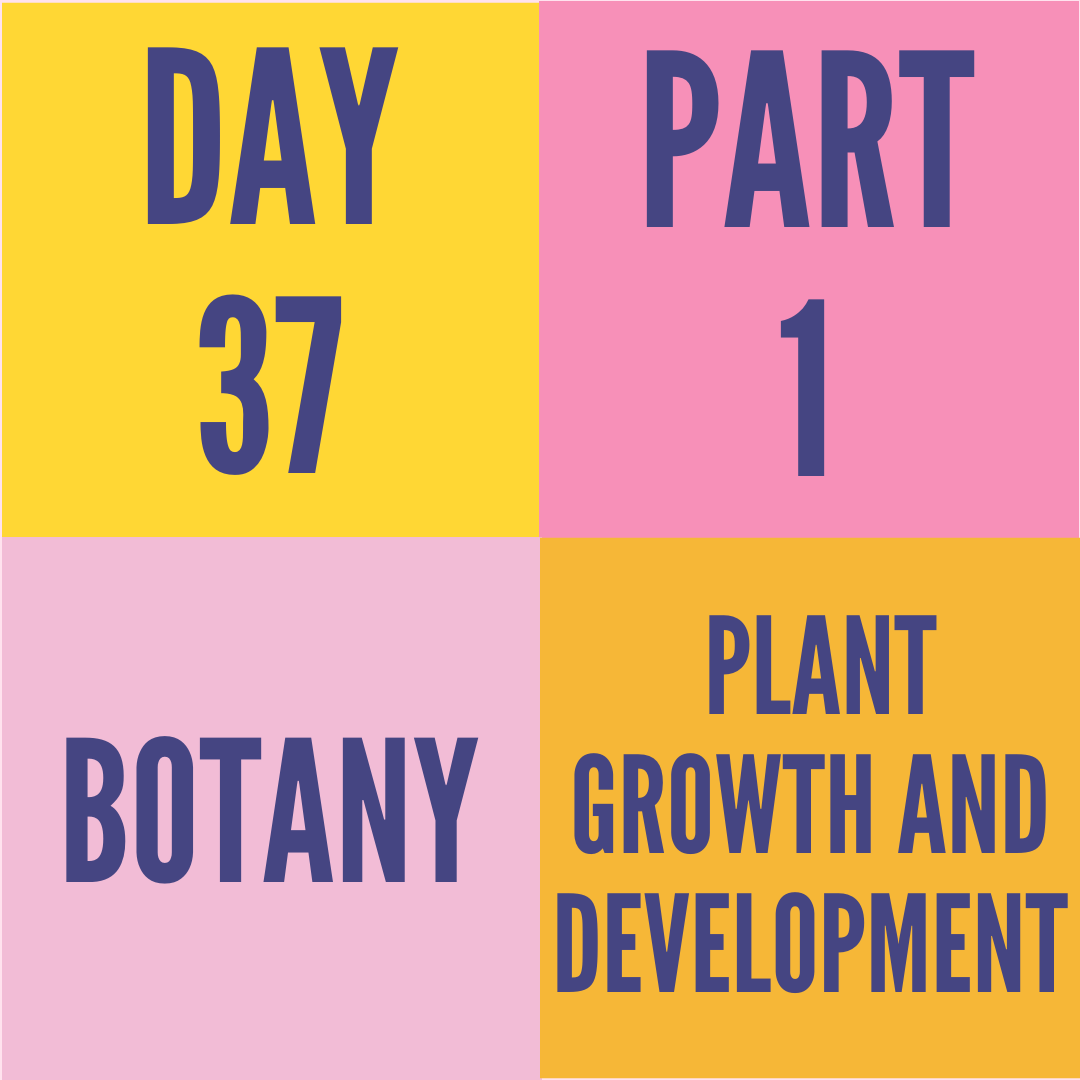 DAY-37 PART-1 PLANT GROWTH AND DEVELOPMENT