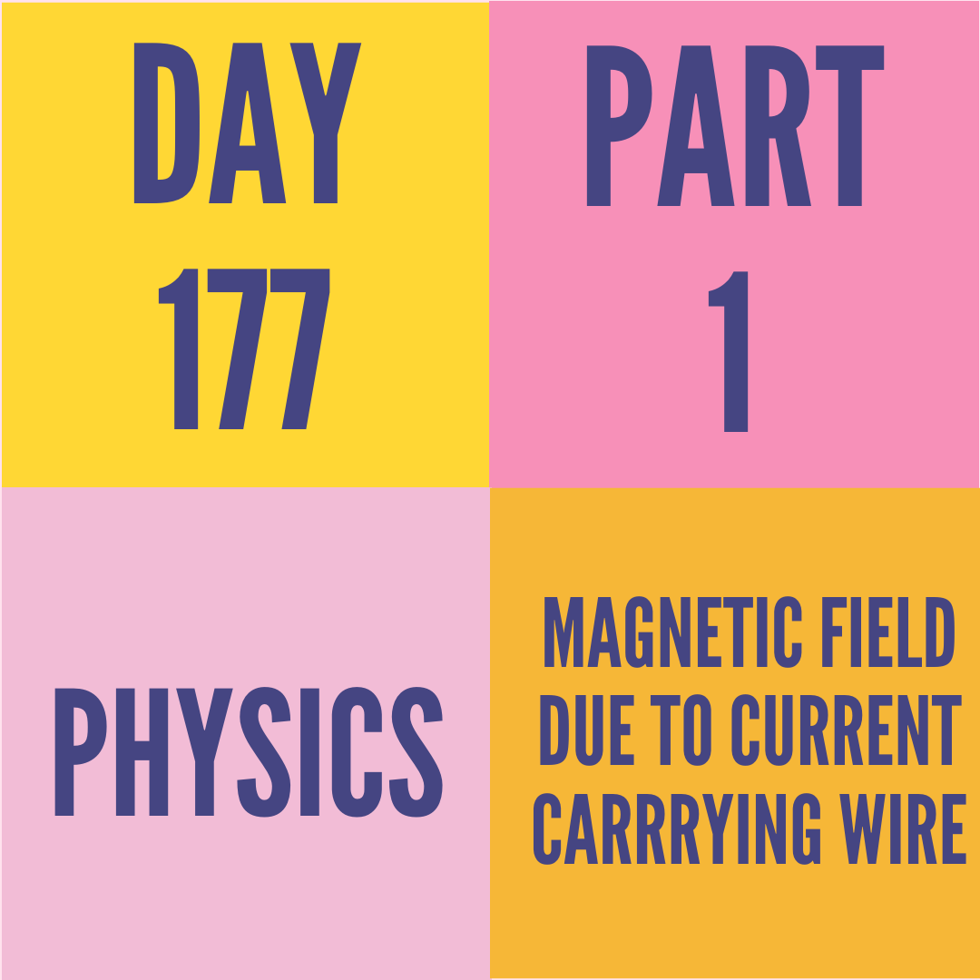DAY-177 PART-1 MAGNETIC FIELD DUE TO CURRENT CARRRYING WIRE