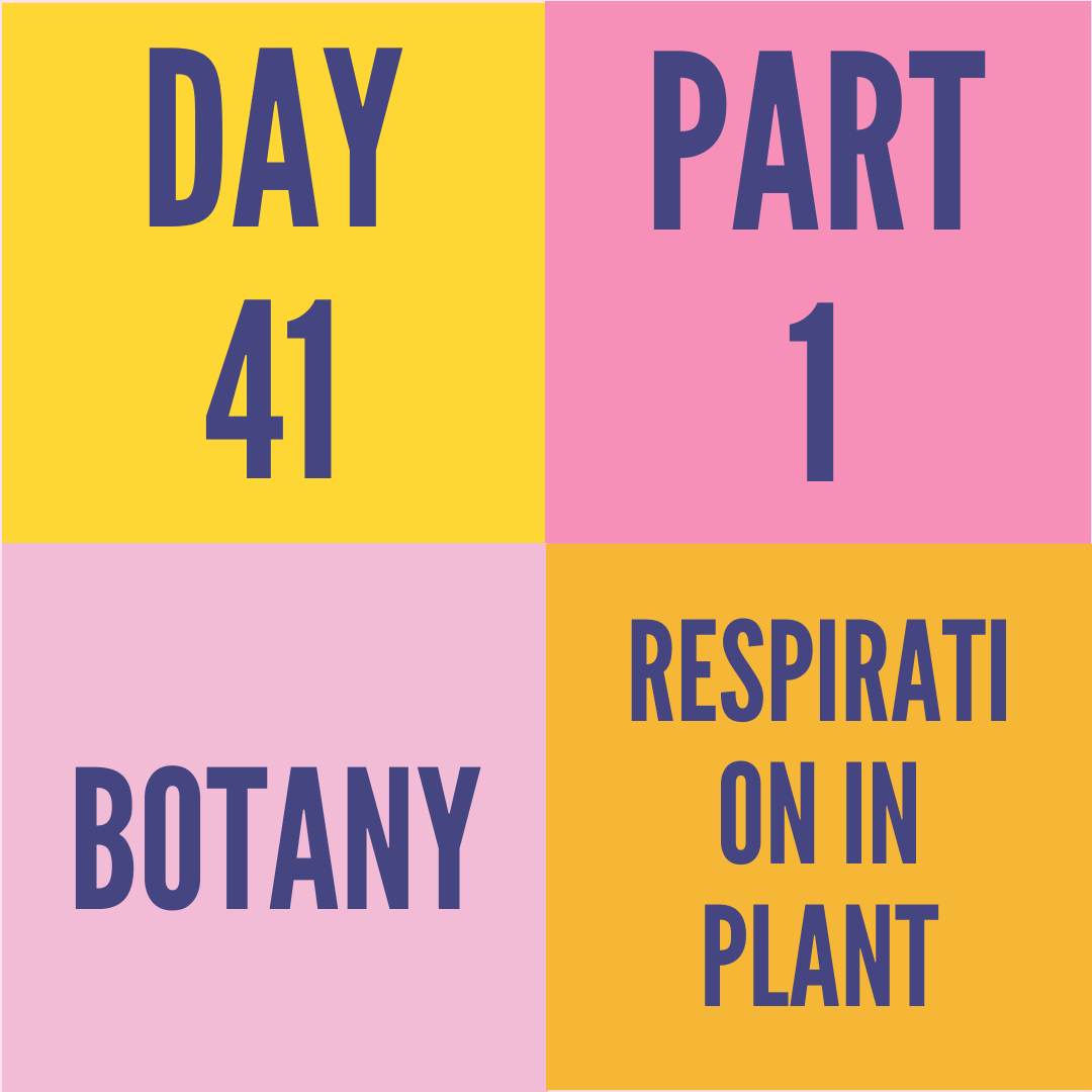 DAY-41 PART-1 RESPIRATION IN PLANT