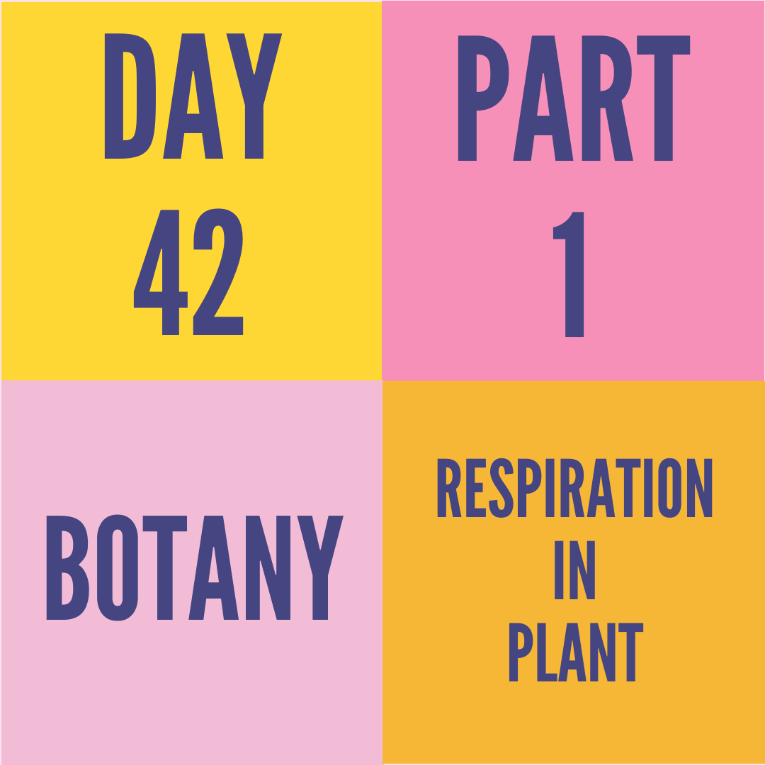 DAY-42 PART-1 RESPIRATION IN PLANT