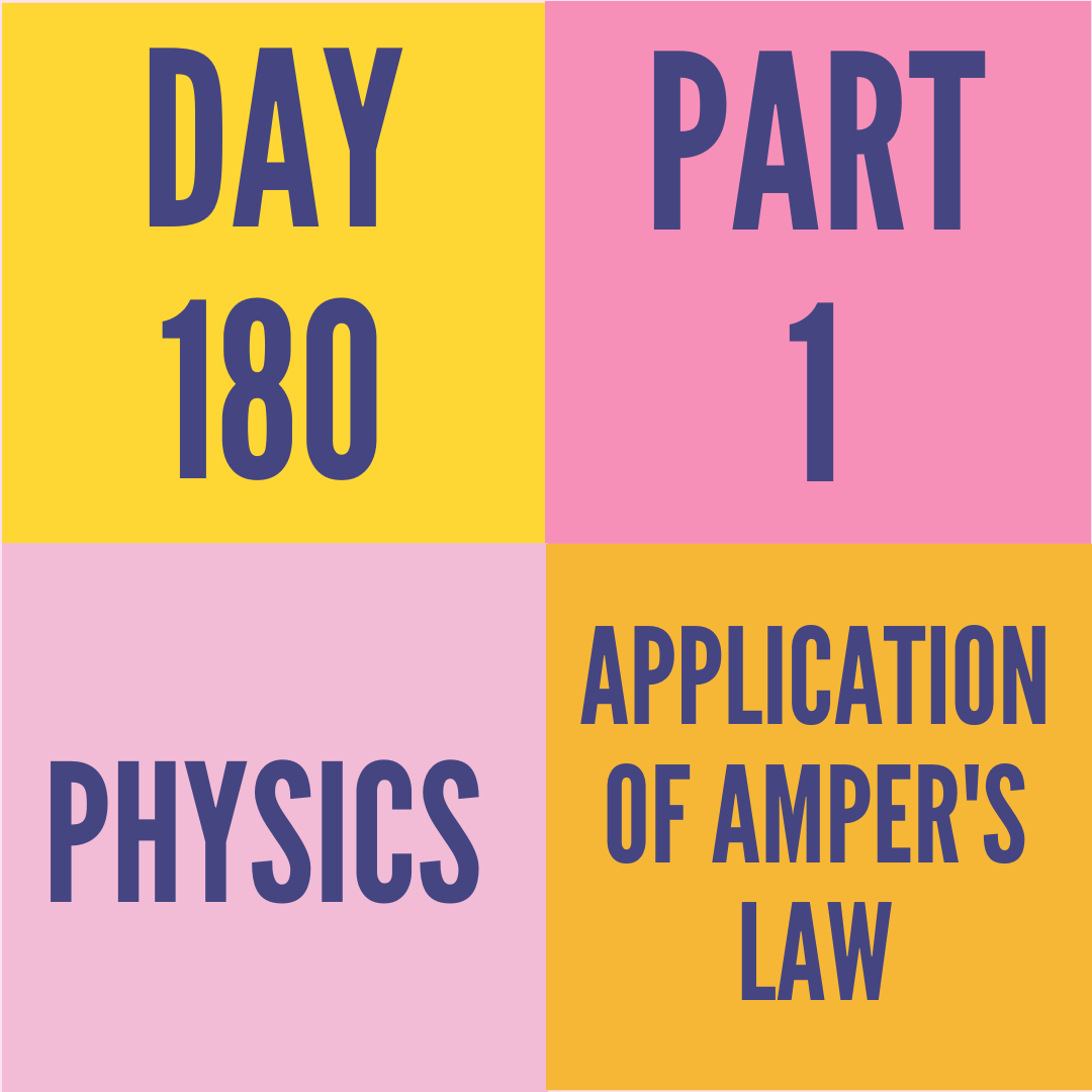 DAY-180 PART-1 APPLICATION OF AMPER'S LAW