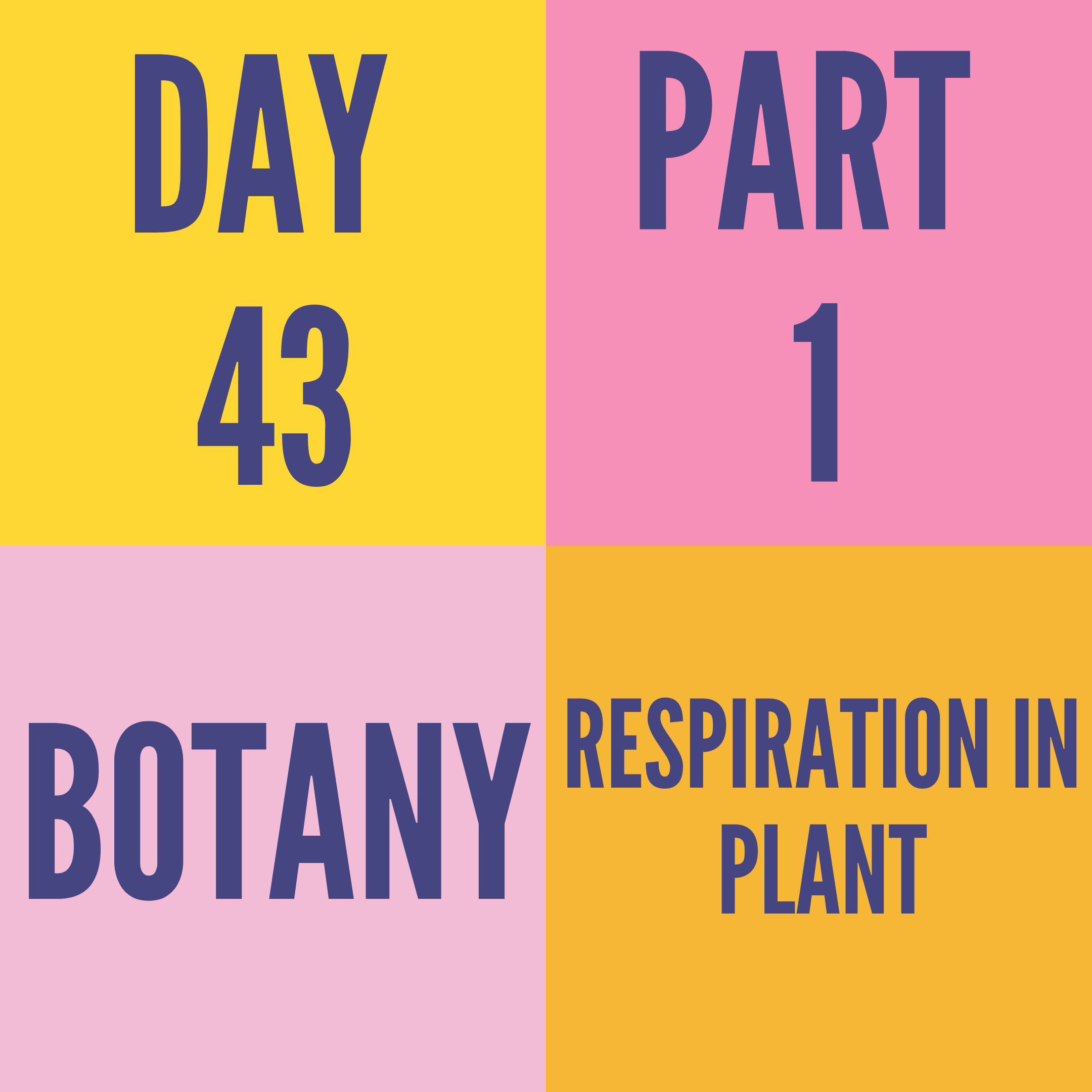 DAY-43 PART-1 RESPIRATION IN PLANT
