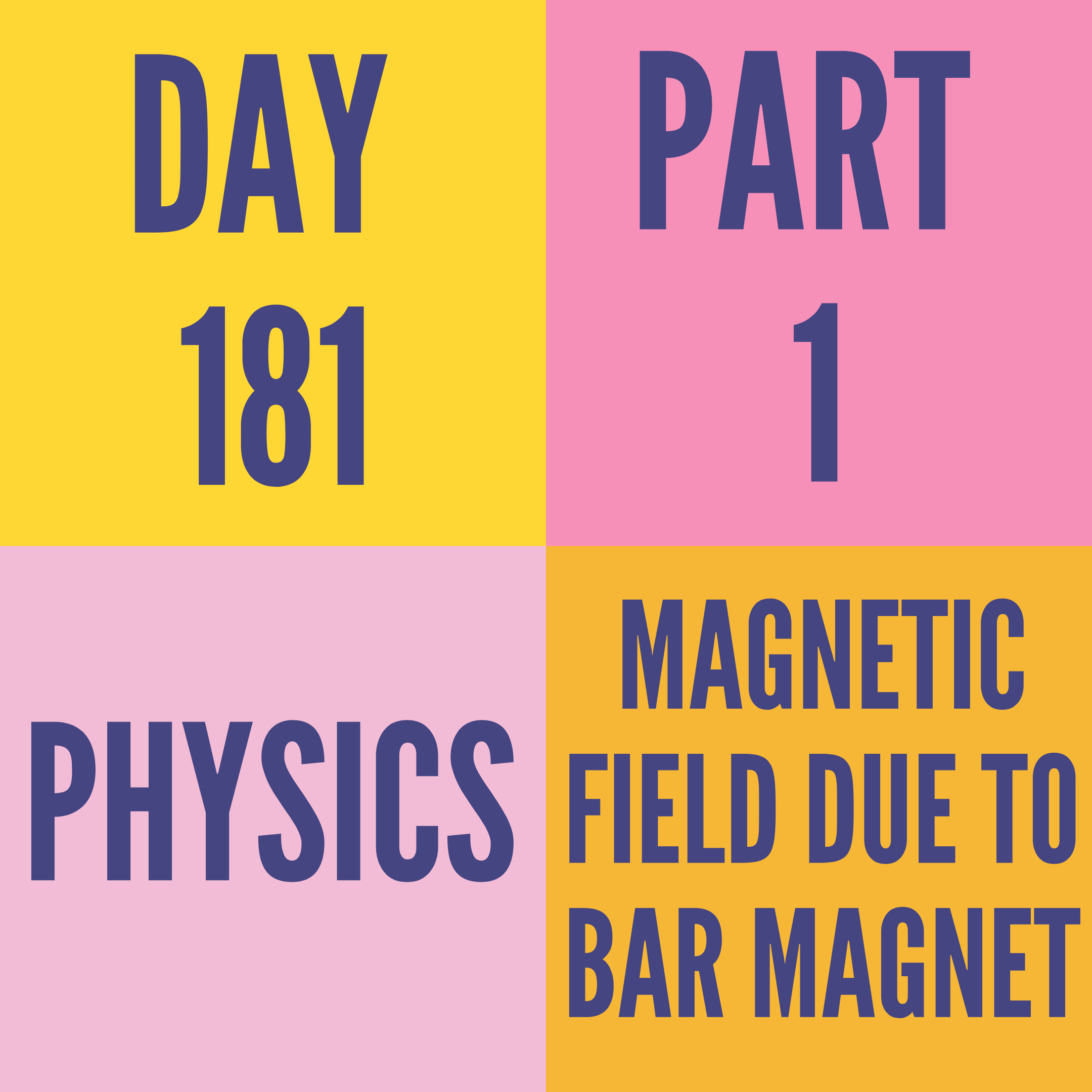 DAY-181 PART-1 MAGNETIC FIELD DUE TO BAR MAGNET