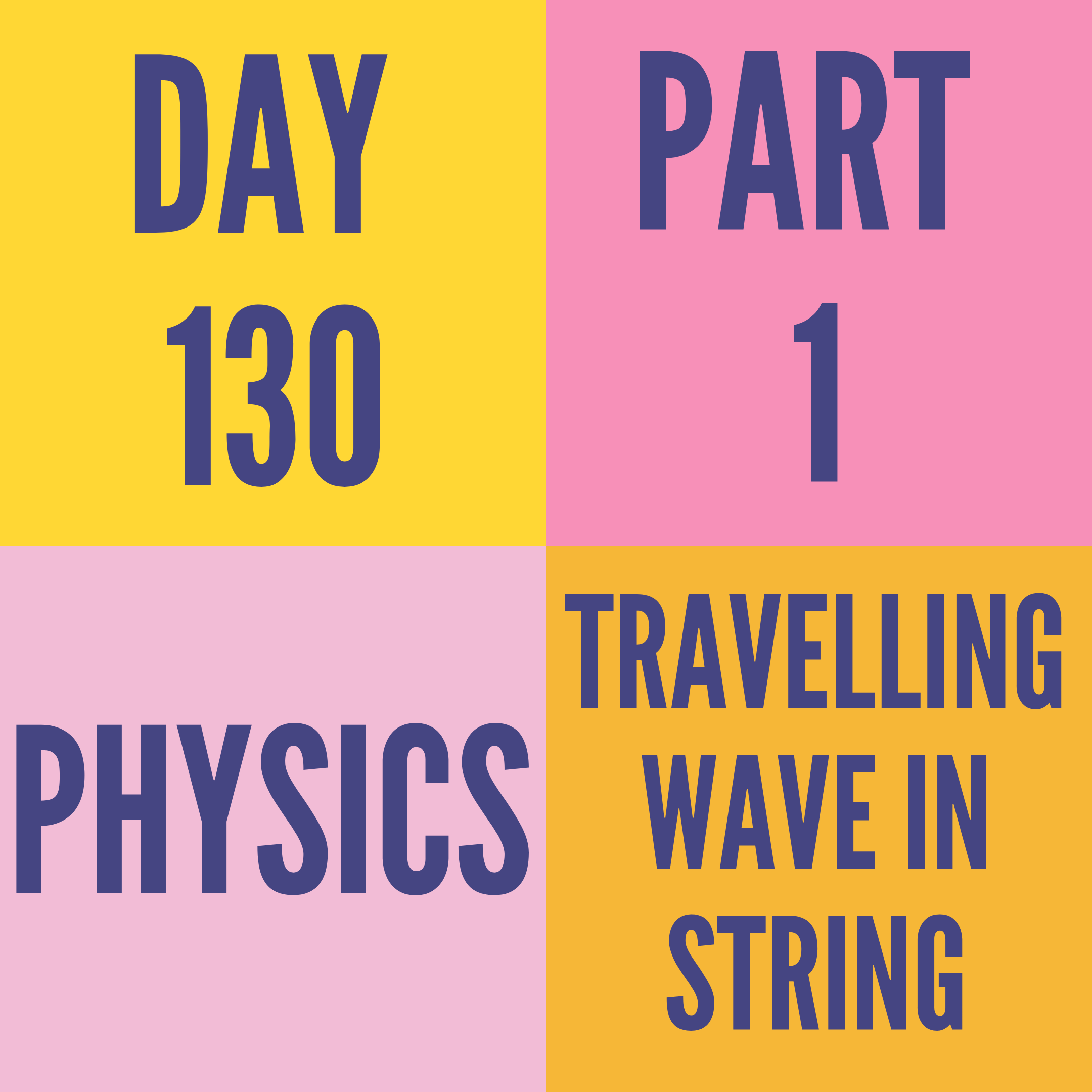 DAY-130 PART-1 TRAVELLING WAVE IN STRING