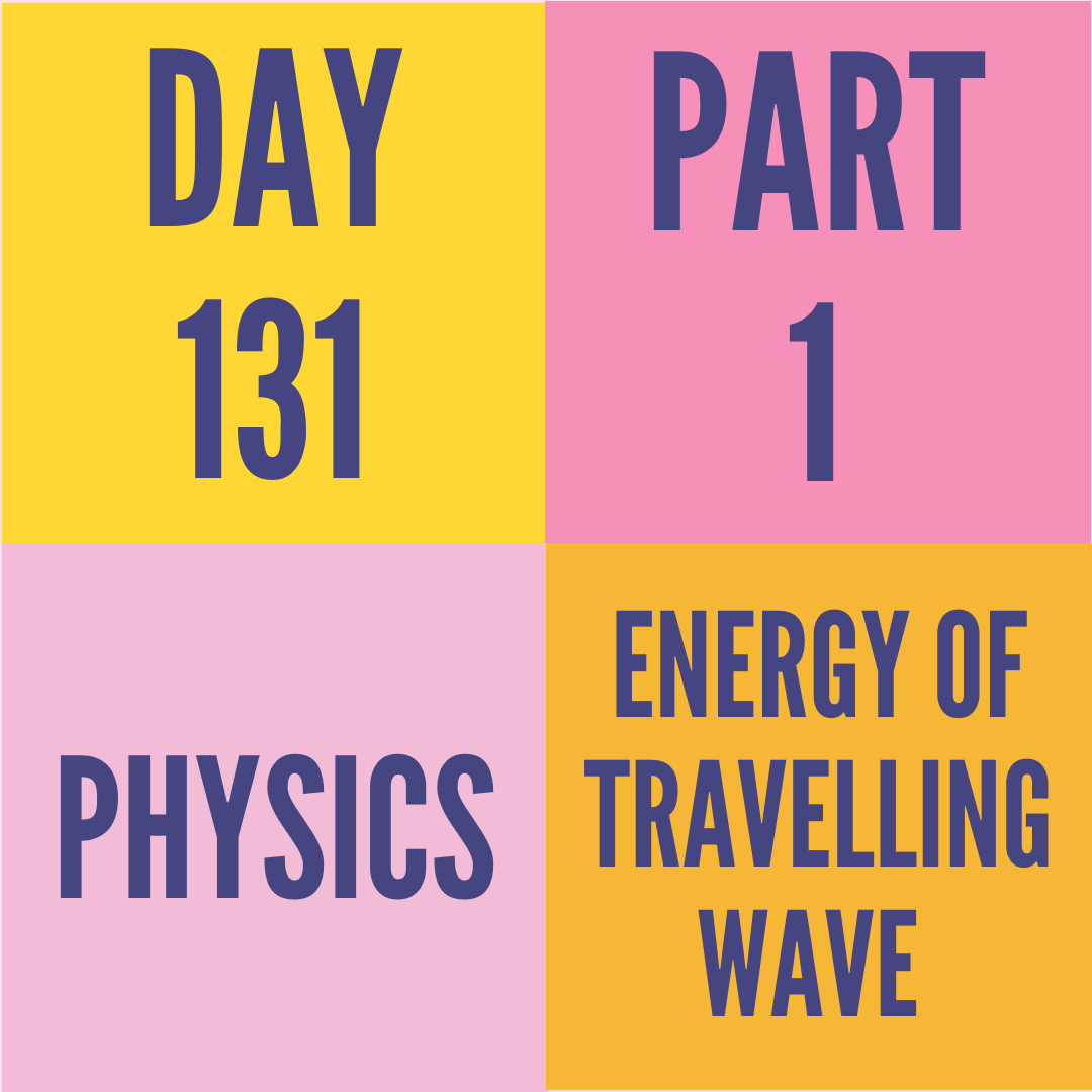DAY-131 PART-1 ENERGY OF TRAVELLING WAVE