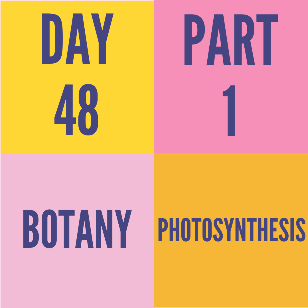 DAY-48 PART-1 PHOTOSYNTHESIS
