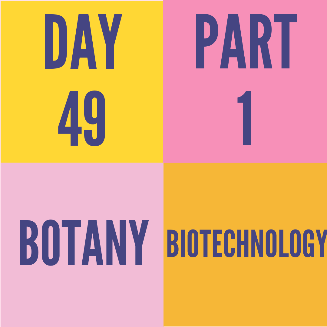 DAY-49 PART-1 BIOTECHNOLOGY