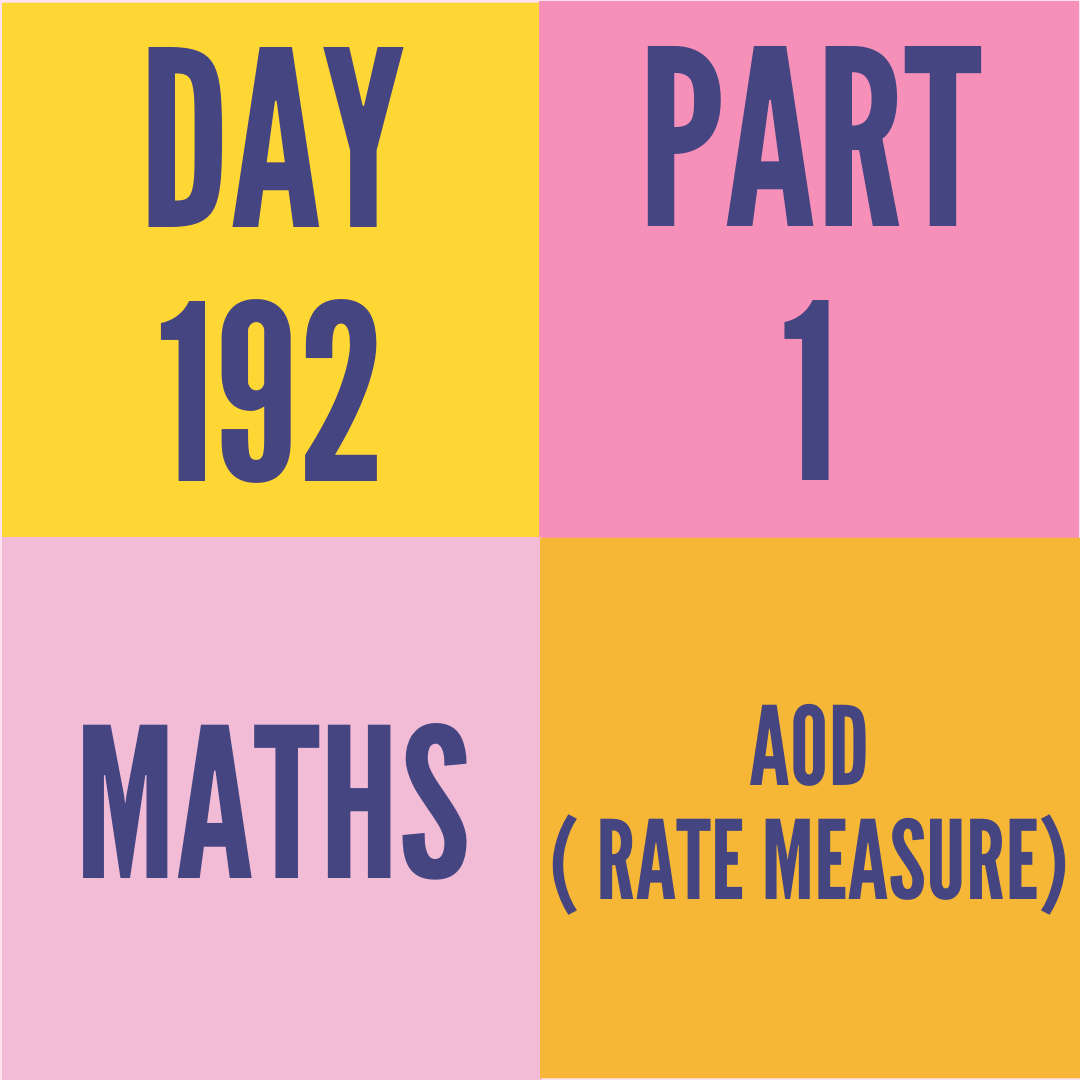 DAY-192 PART-1(TARGET)  AOD ( RATE MEASURE)
