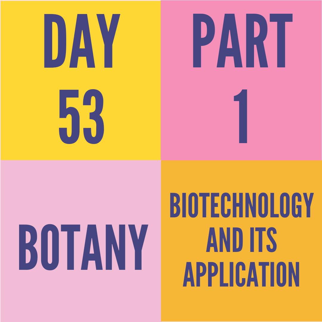 DAY-53 PART-1 BIOTECHNOLOGY AND ITS APPLICATION