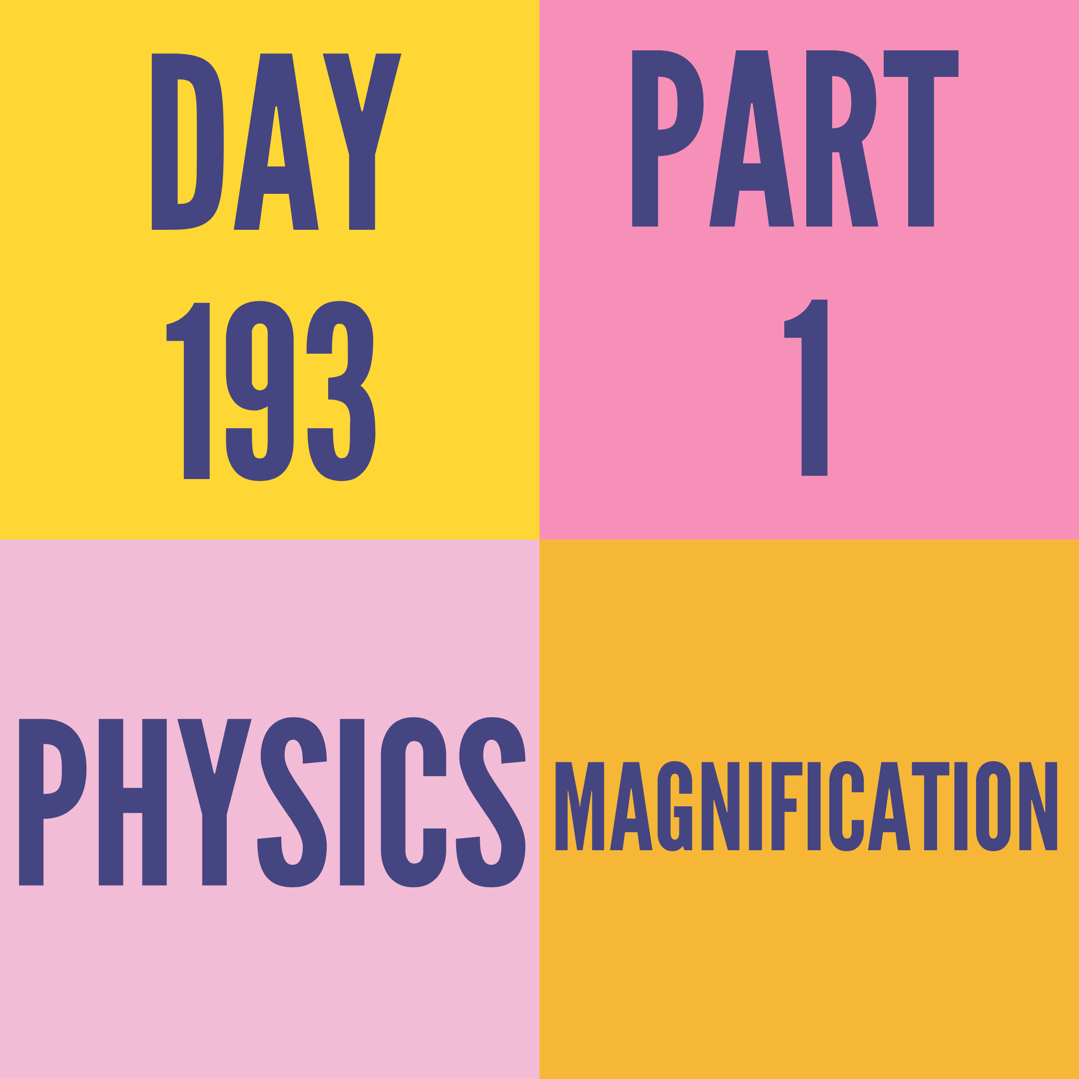DAY-193 PART-1 MAGNIFICATION
