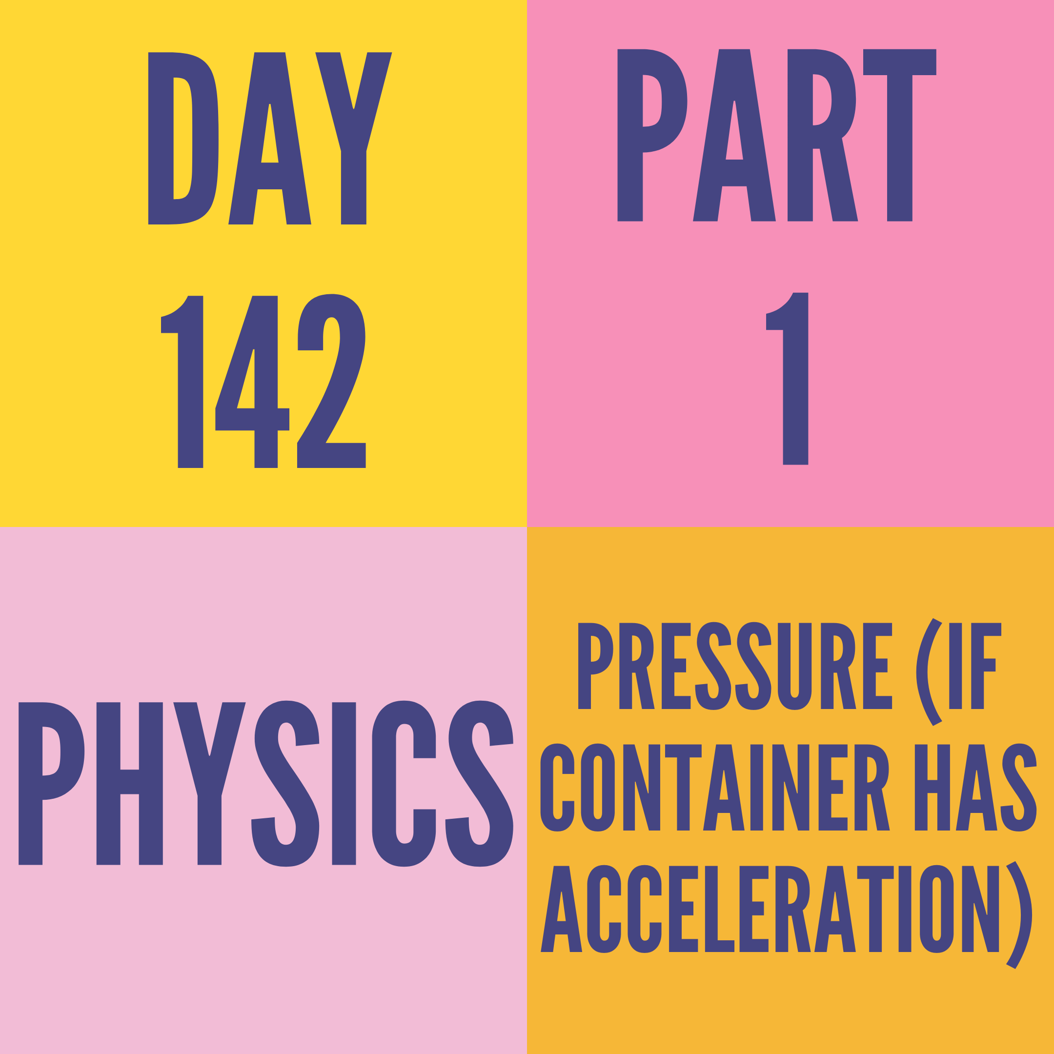 DAY-142 PART-1 PRESSURE (IF CONTAINER HAS ACCELERATION)