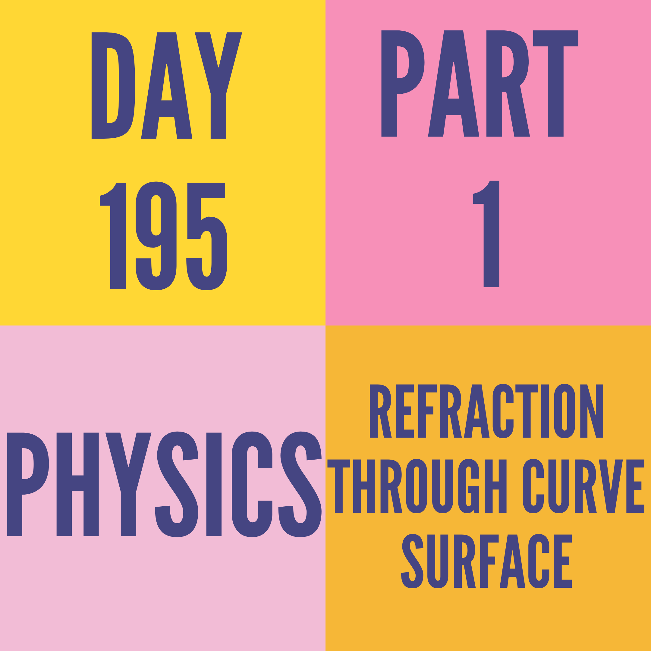 DAY-195 PART-1 REFRACTION THROUGH CURVE SURFACE