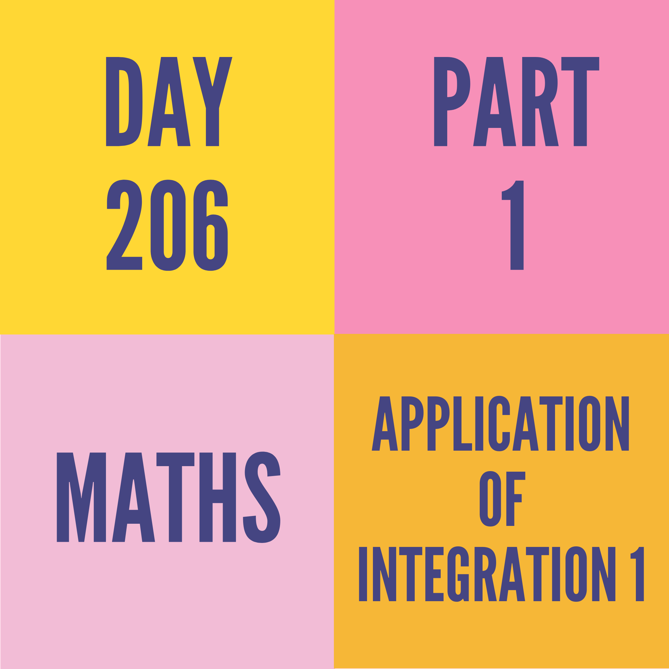 DAY-206 PART-1 APPLICATION OF INTEGRATION 1