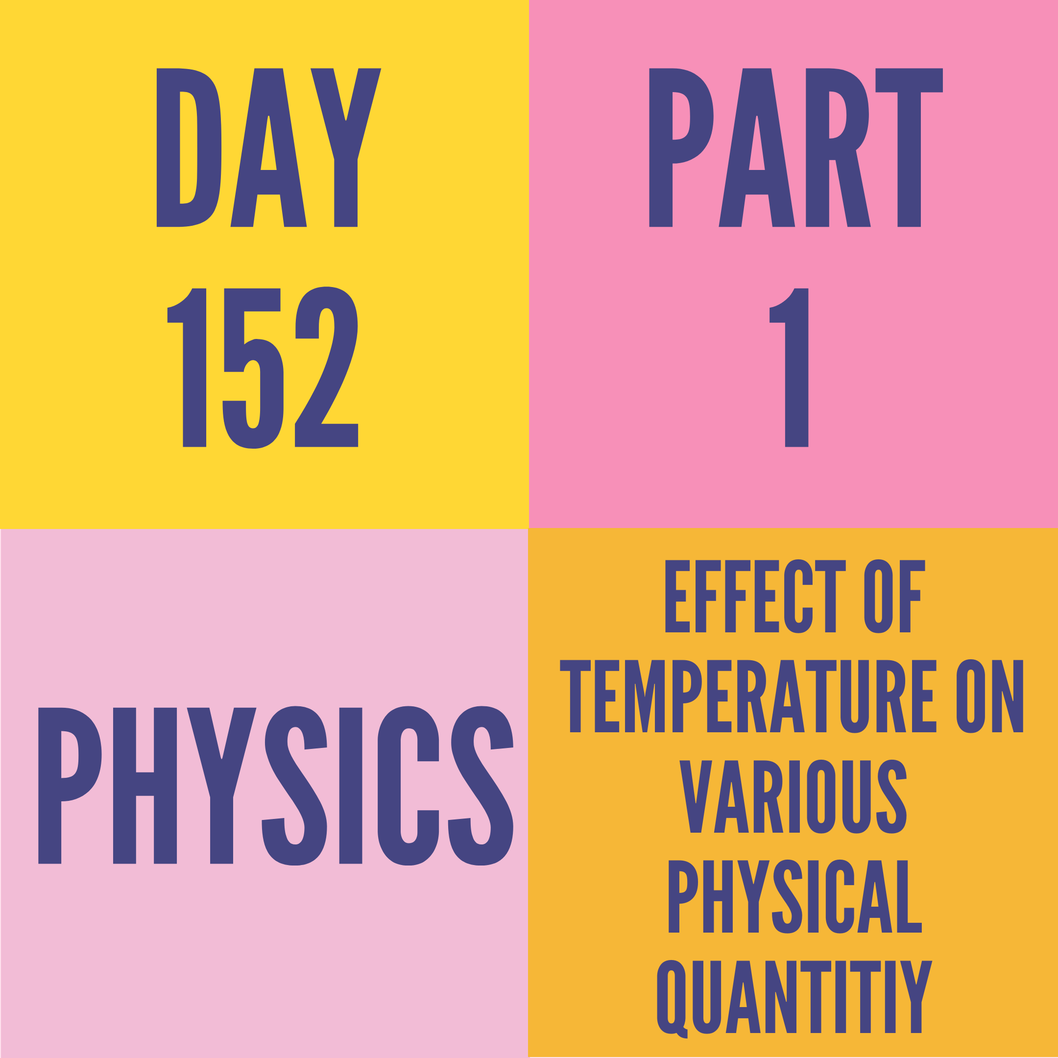 DAY-152 PART-1 EFFECT OF TEMPERATURE ON VARIOUS PHYSICAL QUANTITIY
